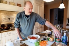 Gary Shor prepares turkey chili in his Westfield, N.J.