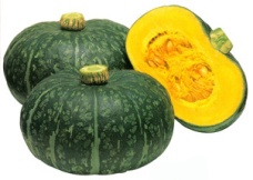 Kabocha squash is rich in beta carotene, with iron, vitamin C, potassium